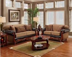 Wooden Living Room Furniture Vanceton Mocha Brown Leather Traditional Wood Sofa Amp Loveseat