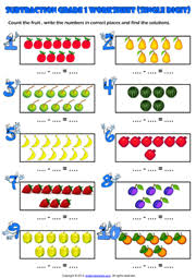 Grade 1 Subtraction Printable Maths Worksheets and ExercisesCount and Subtract Picture Maths Exercise Worksheet