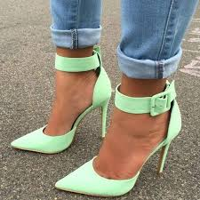 Stiletto Heel Buckle Pointed Toe Plain <b>10cm Thin</b> Shoes | Fashion ...