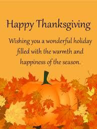 <b>Wishing You</b> a Wonderful Holiday! <b>Happy Thanksgiving</b> Card ...
