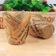 <b>50pcs Newspaper Style</b> Cupcake Liner Baking Cup For Wedding ...