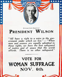 「President Woodrow Wilson gave his support to a constitutional amendment guaranteeing women the right to vote」の画像検索結果