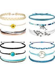 4 Sets Braided <b>Wax</b> Coated <b>Rope</b> Bracelet Anklet Turquoise ...