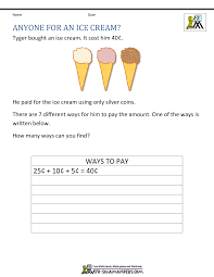 second grade math problems 2nd grade math challenges anyone for an ice cream