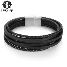 <b>Jiayiqi</b> Vintage Men Bracelet <b>Genuine</b> Leather Bracelet Stainless ...