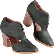 Women's Ankle Boots Chunky Stacked Heel Cut Out ... - Amazon.com