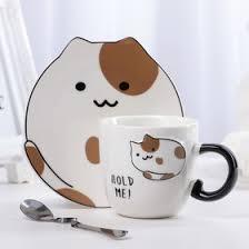 """<b>Чайная пара</b> """"Котики"""": чашка <b>200</b> мл, блюдце 14х13,5х1 см ..."""