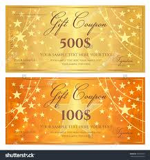 gift certificate voucher coupon template stars stock vector gift certificate voucher coupon template stars pattern holiday gold and orange background