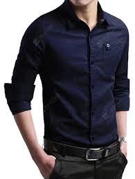 Men's Business Casual <b>Shirt</b> Deep Blue M <b>Shirts</b> Sale, Price ...