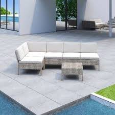 Bromborough <b>6 Piece Rattan</b> Sectional Seating Group with Cushions