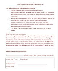 credit card authorization form template 10 sample example recurring credit card authorization form template in word