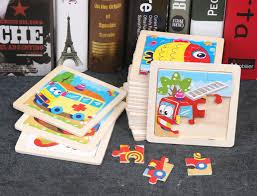 9 Slice Simple <b>Wooden</b> Jigsaw Puzzle <b>Cartoon</b> Animal Vehicle ...