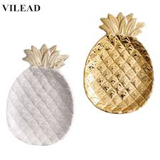 <b>VILEAD</b> 7.8'' <b>Ceramic</b> Gold White Pineapple Jewelry Plate Figurines ...