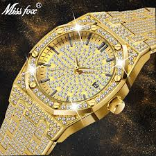 <b>18K Gold Watch Men</b> Luxury Brand Diamond Mens Watches Top ...