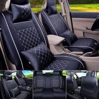 <b>4 Colors</b> Car Seat Cover <b>PU Leather</b> Front & Rear 5-Seats Auto Size ...