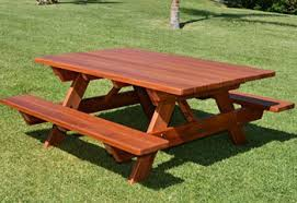 patio tables redwood