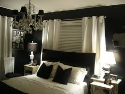 awesome bedroom interior design ideas with black wall paint color combine with white curtain for white black bed with white furniture