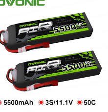 2X <b>Ovonic</b> LiPo Battery 5500mAh 11.1V LiPo 3S 50C Battery <b>Pack</b> ...