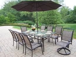 patio table and 6 chairs: amazoncom oakland living cascade  piece dining set with  by  inch table  stackable chairs  swivel rockers  feet brown tilting umbrella and