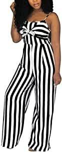 <b>Women's Striped Jumpsuit Romper</b> Sleeveless Tie Front Cut Out ...