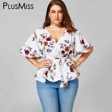 <b>PlusMiss Plus Size 5XL</b> Floral Flower Print Belted Peplum Blouse ...