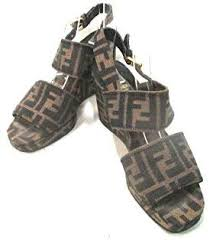 (Oh) Fendi Sandals <b>zukka</b> Pattern Khaki X Black [Used]