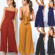 Elegant Sexy Jumpsuits <b>Women Sleeveless Polka Dots</b> Loose ...