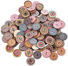 Souarts Pack of 100pcs Mixed Round 2 Holes Wood ... - Amazon.com