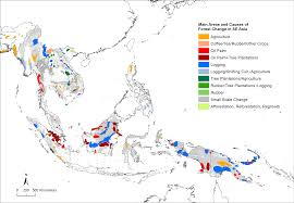 Change in <b>tropical</b> forest cover of <b>Southeast Asia</b> from 1990 to 2010