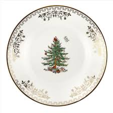 Spode <b>Christmas</b> Tree Gold <b>Collection Set of 4</b> Bread and Butter ...