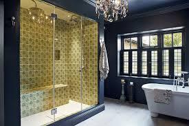 modern bathroom glass shower doors gold accent area design ideas glamorous chandelier dark blue wall beautiful bathroomglamorous glass door design ideas photo gallery
