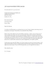 sample employment recommendation letter recommendation letter  sample employment recommendation letter