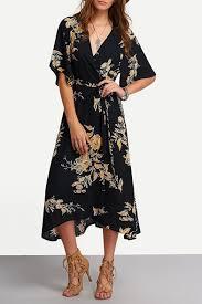Women's <b>Boho Deep V Neck</b> Floral Wrap Split Long Dress ...