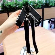 2019 <b>Korea</b> Fashion <b>Crystal</b> Bowknot Corsage Black White <b>Silk</b> ...