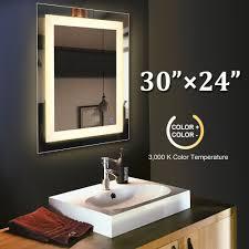 30 In. x 24 In. <b>LED Wall</b> Mounted <b>Bathroom</b> Lighted <b>Mirror</b> Vanity w ...