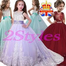Girls Lace Bridesmaid Maxi Full <b>Dresses Princess</b> Party Kid Lace ...