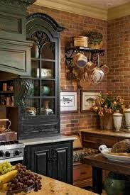 kitchen antique shelf brick wall