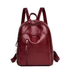 Burgundy <b>Backpack Backpack Korean New</b> Tide Fashion <b>Travel</b> ...