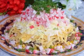 Картинки по запросу Как приготовить салат с крабовыми палочками и грибами