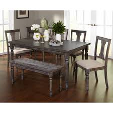 room simple dining sets: simple living pc burntwood dining set with bench