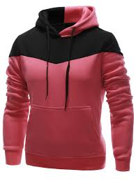 <b>IZZUMI Classic</b> Color Block Front Pocket Hooded Long Sleeves ...