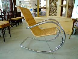wicker rocking chairs  italian tubular chrome amp wicker rocking chair