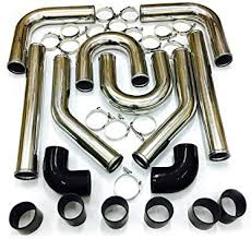 SUNROAD <b>8PCS Universal</b> 2.5 Aluminum Intercooler Pipe Piping ...