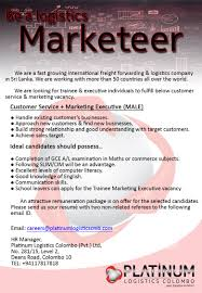 customer service marketing executive male platinum logistics best job site in sri lanka lk