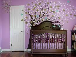 baby nursery image of modern girl nursery themes purple wall with tree murals varnished wood baby nursery girl nursery ideas modern