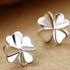 Junxin Women's Cute Lucky <b>Clover Shape Earrings</b> 925 Silver Ear ...