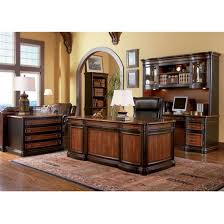 5 piece two toned grand style home office executive set by coaster 800511s brown finish home office