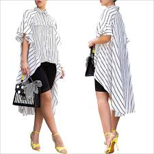 <b>2019</b> Stiway sexy <b>striped print irregular</b> shirt skirt short short long