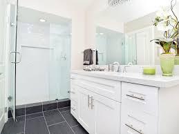 bathroom makeover black cabients makeovers spa inspired shower hforfh white bathroom afterjpgrendhgtvcom spa insp