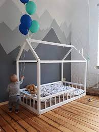 <b>Little Village</b> Montessori toddler house bed with railing (Custom from ...